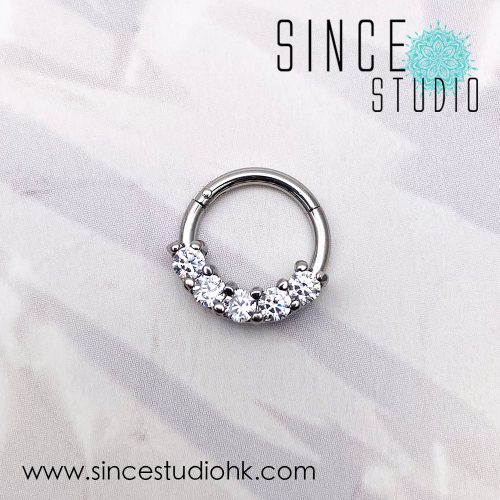 Bling 5 Crystal hinged seam ring