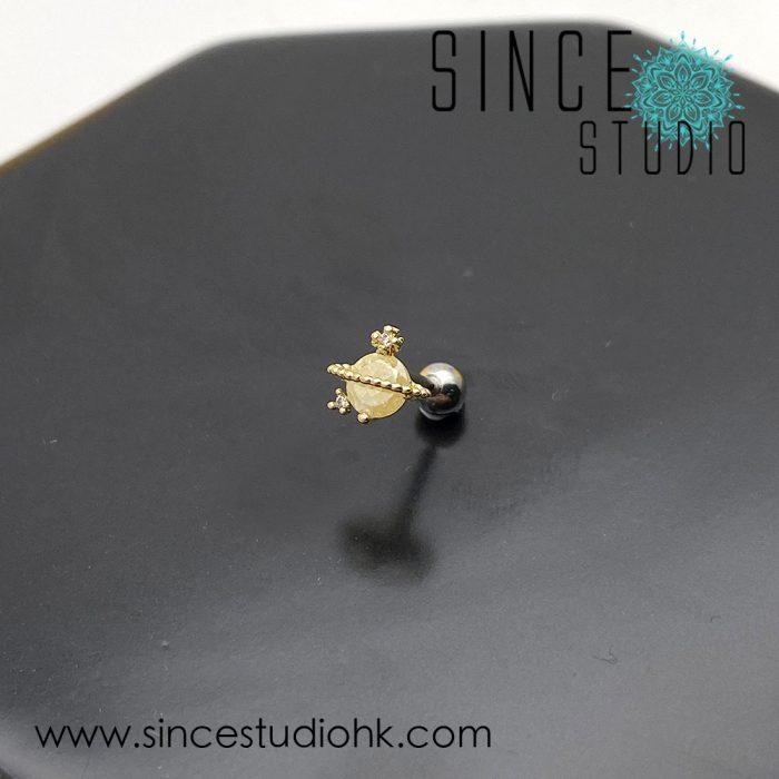金色小土星耳環