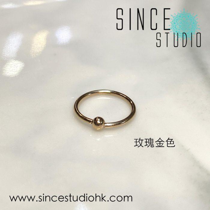 Bead-end Bendable Ring玫瑰金色