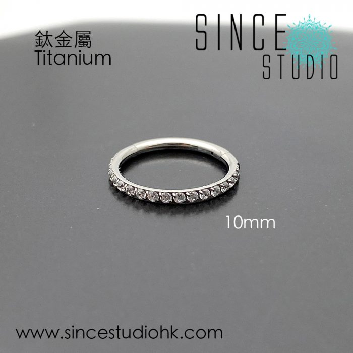 Outer White Crystal 10mm Hinged Seam Ring Titanium