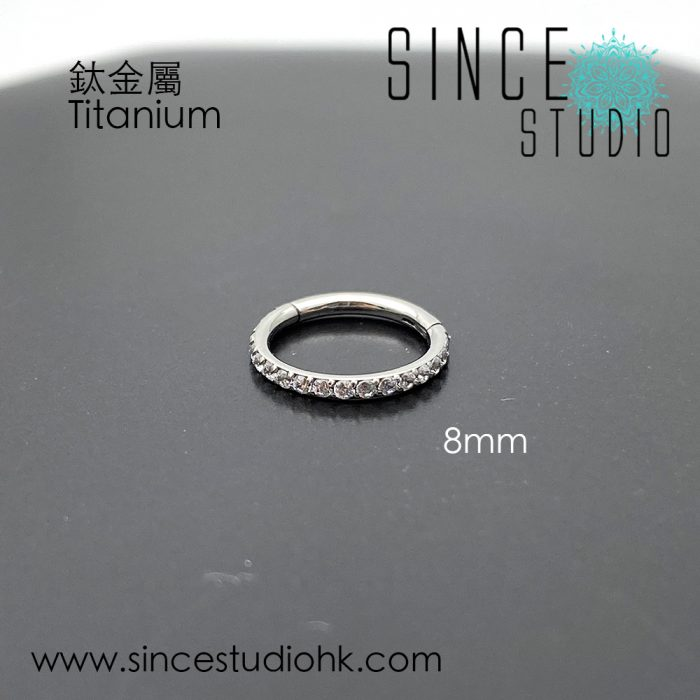 Outer White Crystal 8mm Hinged Seam Ring Titanium