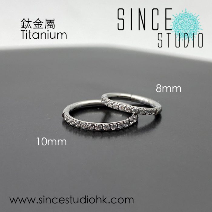 Outer White Crystal Hinged Seam Ring Titanium