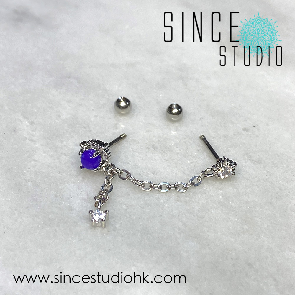 White Crystal in Two Studs Chained Dangle with Purple Epoxy Stone
