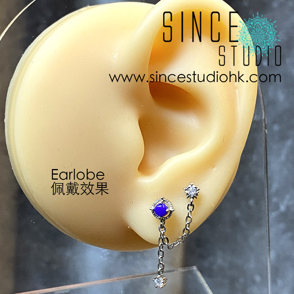 White Crystal in Two Studs Chained Dangle with Purple Epoxy Stone Earlobe