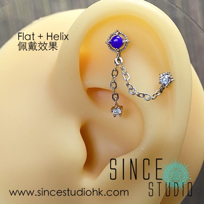 White Crystal in Two Studs Chained Dangle with Purple Epoxy Stone Sample