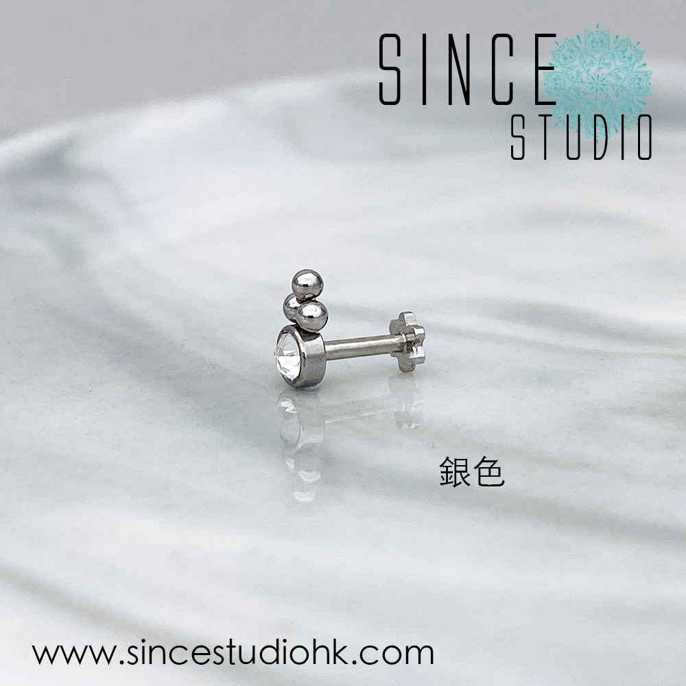 Tri beads with Crystal銀色Labreat stud