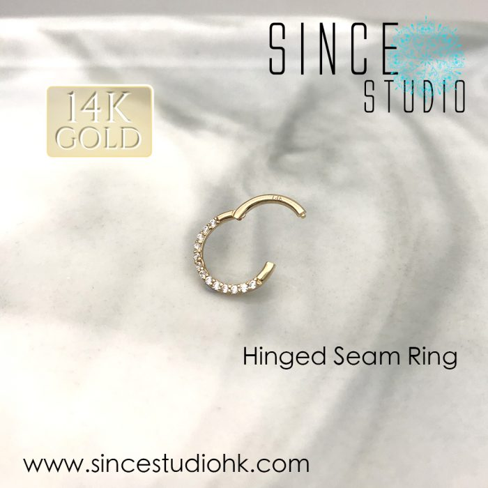 14K Gold Crystal Accents Front Side Hinged Seam Ring